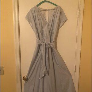 Women's Seersucker Maxi Wrap Dress - Size 18W